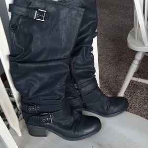 Carlos Santana wide calf knee high boots
